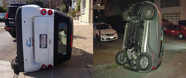 Vandals Flip Over Smart Cars in San Francisco