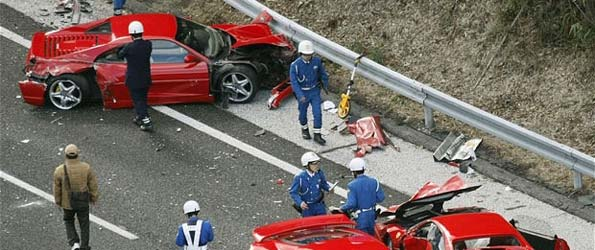 Massive Ferrari Pileup in Japan